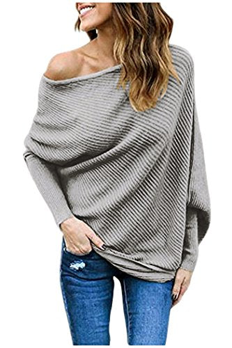 Women's Off Shoulder Sweater Batwing Sleeve Loose Pullover Solid Sweater Knit Jumper Tops