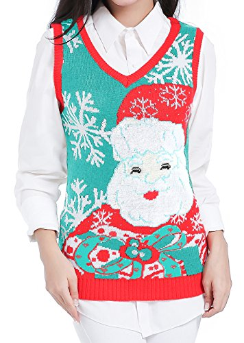 Ugly Christmas Sweater, Women Girls Cute Shining Reindeer Pullover Sweater