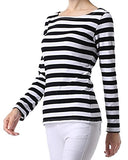 Women's Long Sleeve Stripe Pattern T-Shirt Loose Casual Tops