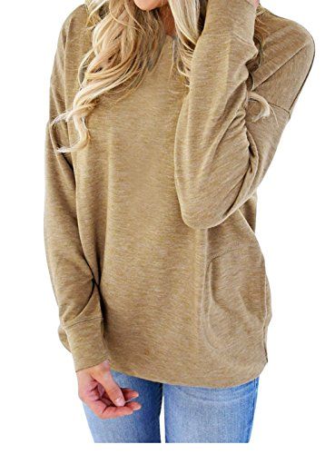 Womens Long Sleeve Sweatshirt Loose T-Shirt Blouses Tops