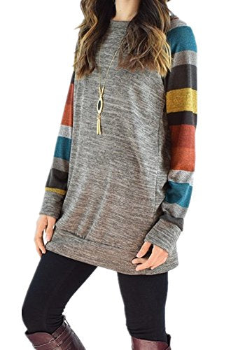 Women's Cotton Knitted Long Sleeve Lightweight Tunic Sweatshirt Tops (XXXL=US16-18, Mulit)