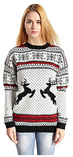 Christmas Reindeer Snowflakes Sweater Pullover