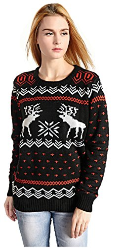 Hanson Women's Patterns Of Reindeer Snowman Christmas Cardigan