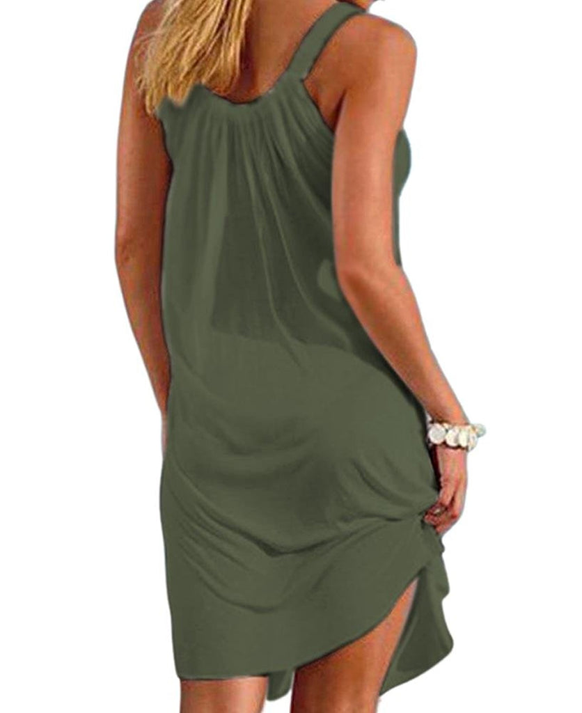 Women Summer Casual Relaxed Strappy Sleeveless Beach Short Mini Dress