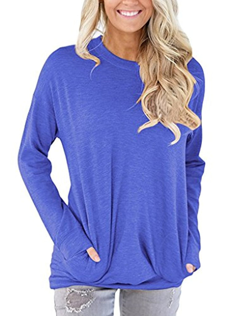 Loose Tops Sweaters For Women Batwing Sleeve Casual T-Shirts With Pockets Long Sleeve Tunics Soft & Lightweight