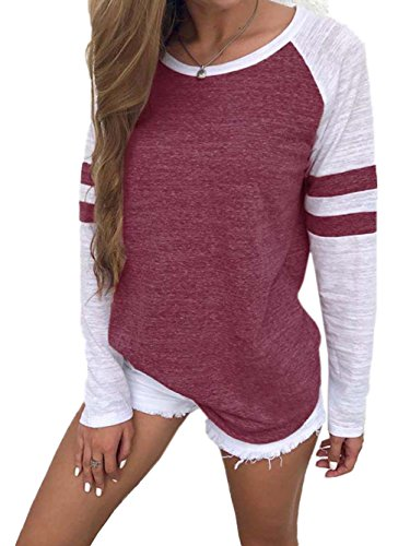 Women's Long Sleeve Baseball Tee Shirt Crew Neck Colorblock Striped Tops