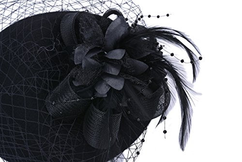 Pillbox Hat, Aniwon Wedding Hat with Veil Vintage Bow Fascinator Hats for Women