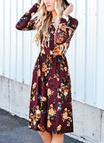 Women's Long Sleeve Floral Pockets Casual Swing Pleated T-shirt Dress