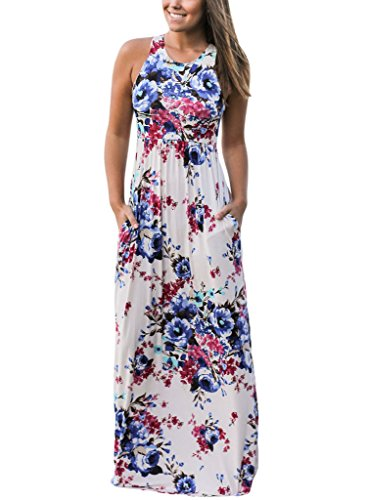 Women's Floral Print Round Neck Sleeveless Long Maxi Casual Dress