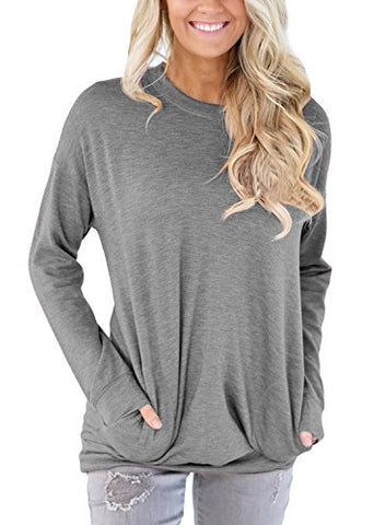 ZKESS Womens Casual Long Sleeve Round Neck Sweatshirt Loose TShirt Womens Tunics Blouses Tops