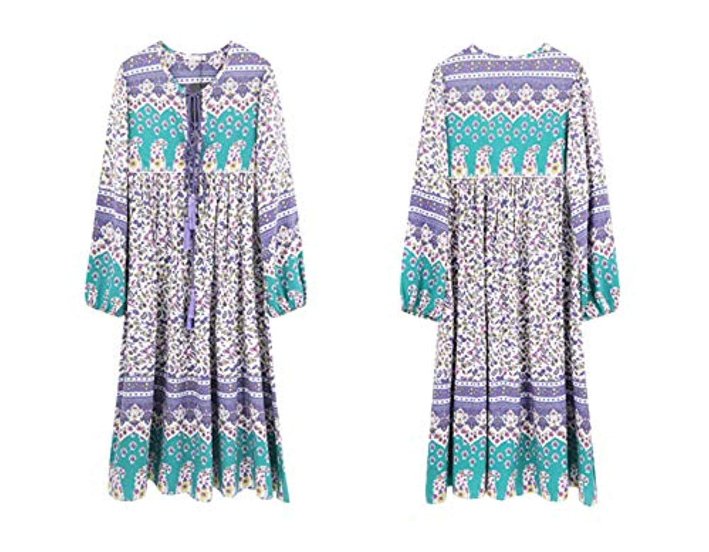 Women's Long Sleeve Floral Print Retro V Neck Tassel Bohemian Midi Dresses