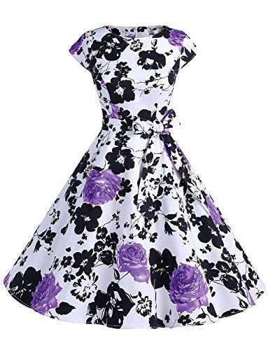 Women Vintage 1950s Retro Rockabilly Prom Dresses Cap-sleeve