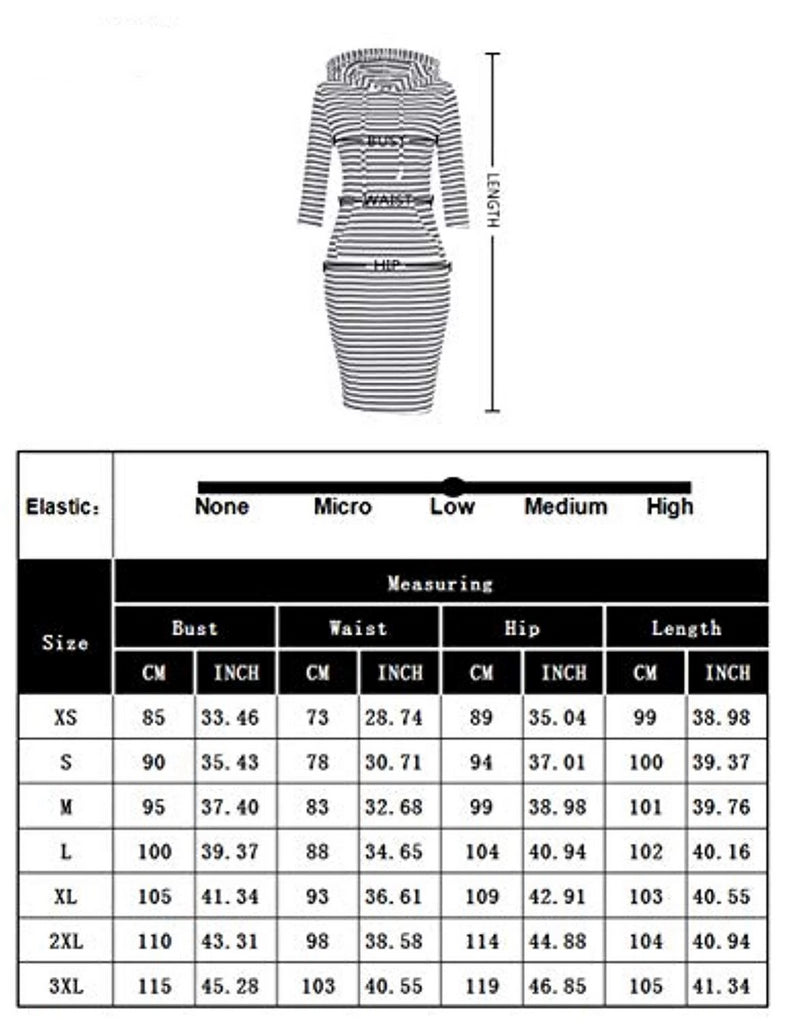 Women 3/4 Long Sleeve Stripe Pocket Knee Length Slim Sweatshirt Casual Pullover Hoodie Dress