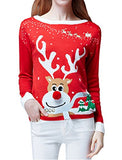 Women's Ugly Christmas Sweater, Ladies Girls Cute Reindeer 3D Nose Sweater