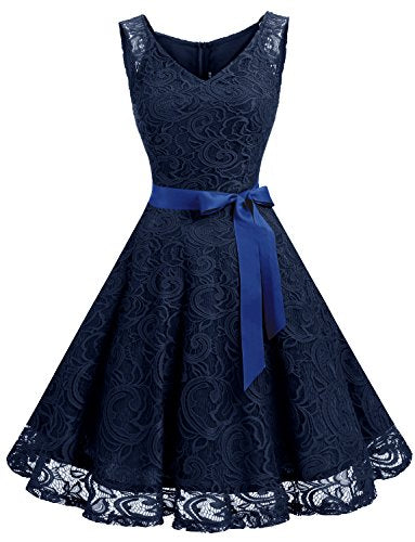 Women Floral Lace Bridesmaid Party Dress Short Prom Dress V Neck