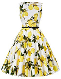 GRACE KARIN Boatneck Sleeveless Vintage Tea Swing Dress With Belt