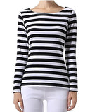 OUGES Women's Long Sleeve Stripe Pattern T-Shirt Loose Casual Tops
