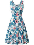 FENSACE Women's Sleeveless Scoop Neck Summer Beach Midi A Line Tank Dress