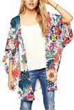 Hibluco Women's Sheer Chiffon Floral Kimono Cardigan Long Blouse Loose Tops Outwear