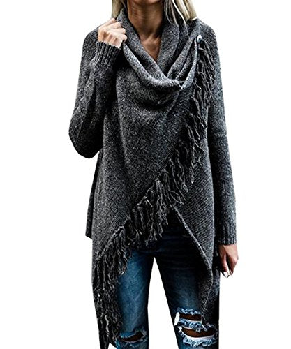 Women's Speckled Fringe Cardigan Crew Neck Knited Tassels Slash Sweater Coat Outwear