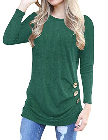 Anicco Womens Short Sleeve Casual Round Neck Loose Button Side Tunic Top Blouse T-Shirt