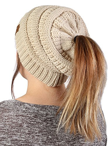 28df7fb31a Funky Junque's CC BeanieTail Womens Ponytail Messy Bun Beanie Solid Ribbed Hat  Cap