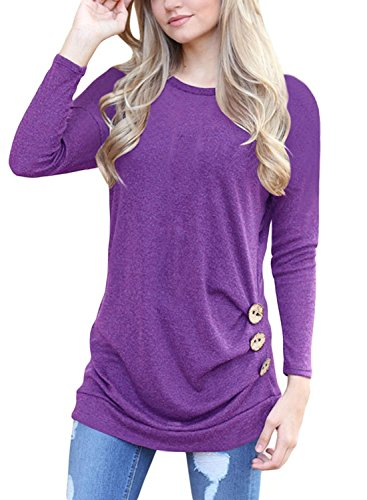 Women's Casual Long Sleeve Round Neck Solid Loose Tunic T Shirt Blouse Tops