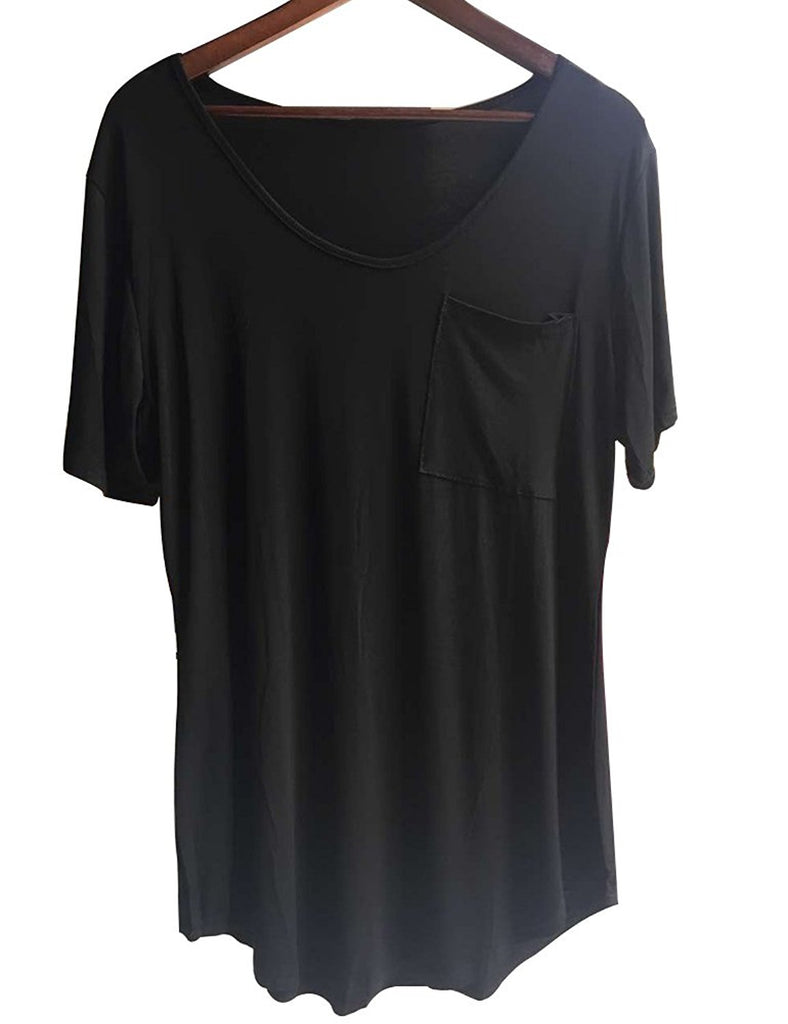 Womens Casual Scoop Collar Plus Size T Shirts Summer Tops Tee