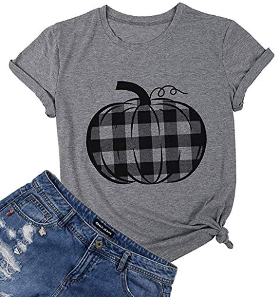 Pumpkin Shirt Top Halloween Thanksgiving Gift Top Women Pumpkin Plaid Graphic Print T Shirt Tee