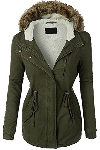 Women's Zip Up Military Anorak Jacket W/Hood