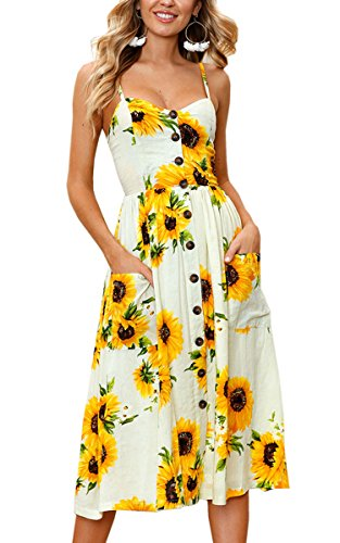 Women's Dresses-Summer Floral Bohemian Spaghetti Strap Button Down Swing Midi Dress with Pockets
