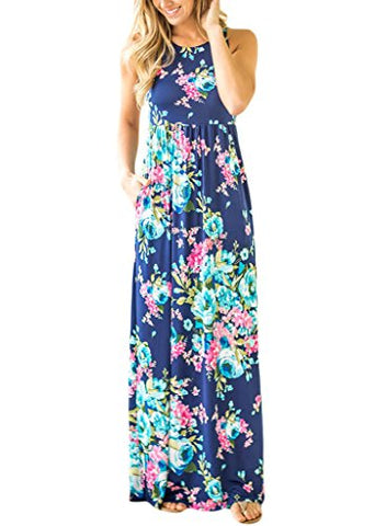 Lovezesent Women's Floral Print Round Neck Sleeveless Long Maxi Casual Dress