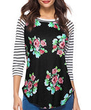 Women's Blouse 3/4 Sleeve Floral Print T-Shirt Comfy Casual Tops for Women