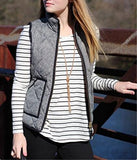 Women's Slim Fall Quilted Herringbone Puffer Vest with Zipper