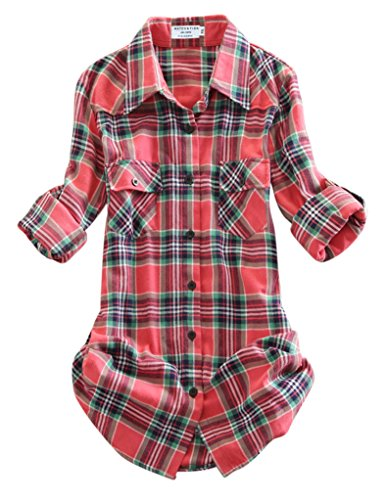 Match Women's Long Sleeve Flannel Plaid Shirt