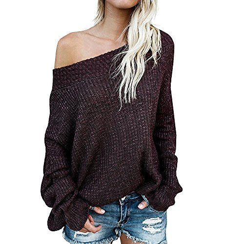Women's Off Shoulder Batwing Sleeve Loose Oversized Pullover Sweater Knit Jumper