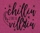 Chillin Like a Villain Shirt Women Maleficent Shirt Letters Print Short Sleeve Holiday Halloween Tee Tops