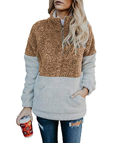 Women Long Sleeve Zipper Sherpa Sweatshirt Soft Fleece Pullover Outwear Coat
