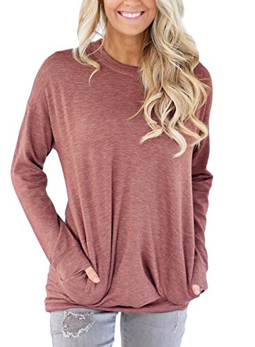 Women Casual Long Sleeve Round Neck Sweatshirt Loose T Shirt Blouses Tops
