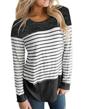 Womens Long Sleeve Round Neck T Shirts Color Block Striped Causal Blouses Tops