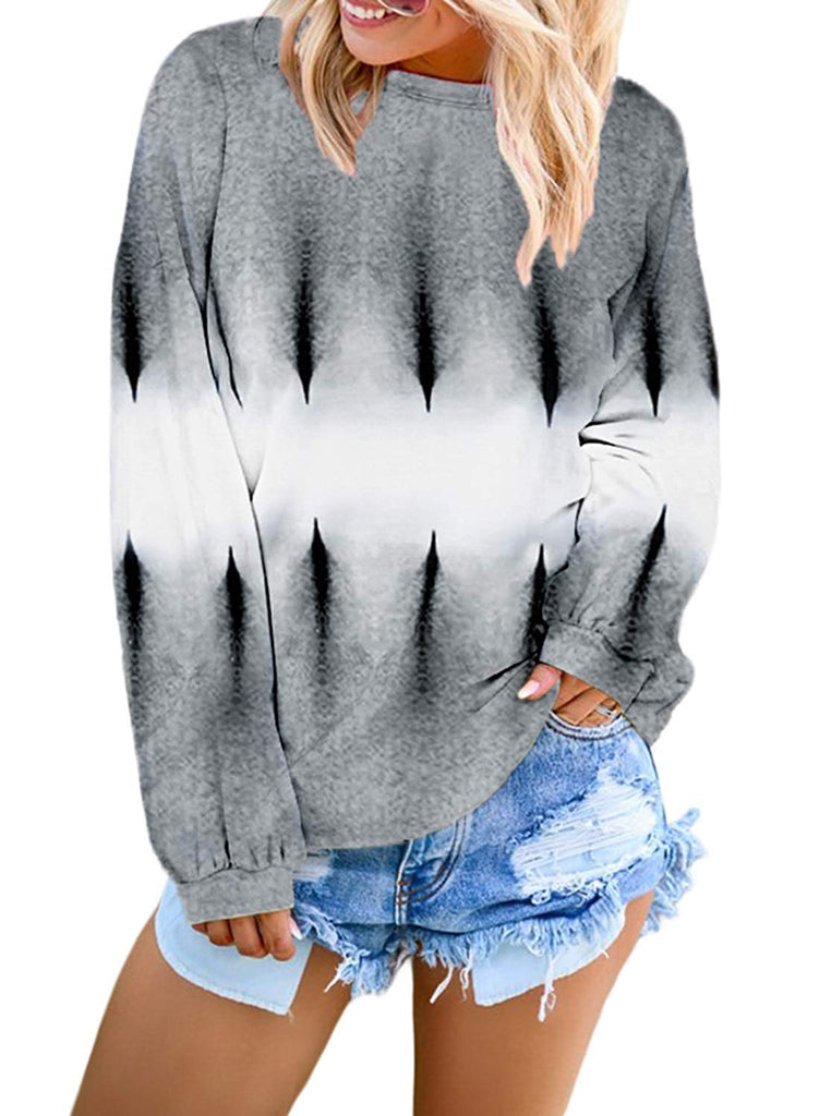 Women's Casual Oversized Long Sleeve Color Block Pullover Blouse Sweatshirt