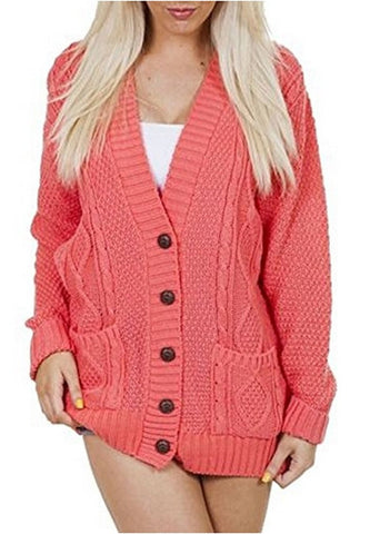 OgLuxe Women's Ladies Long Sleeve Pocket Cable Knit Chunky Cardigan Size 6-24