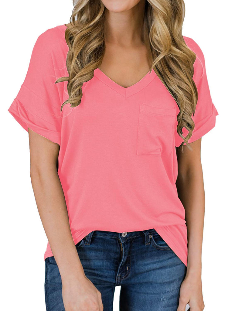 Women's Short Sleeve V-Neck Shirts Loose Casual Tee T-Shirt