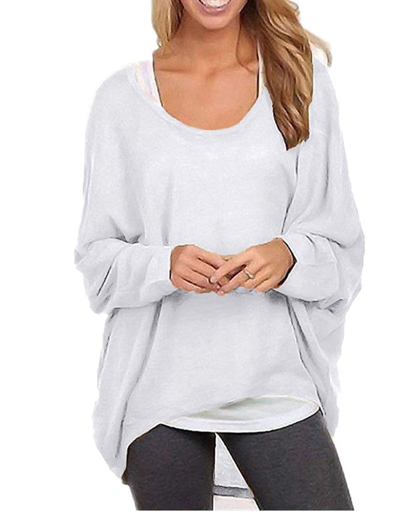 Women's Batwing Sleeve Off Shoulder Loose Oversized Baggy Tops Sweater Pullover Casual Blouse T-Shirt