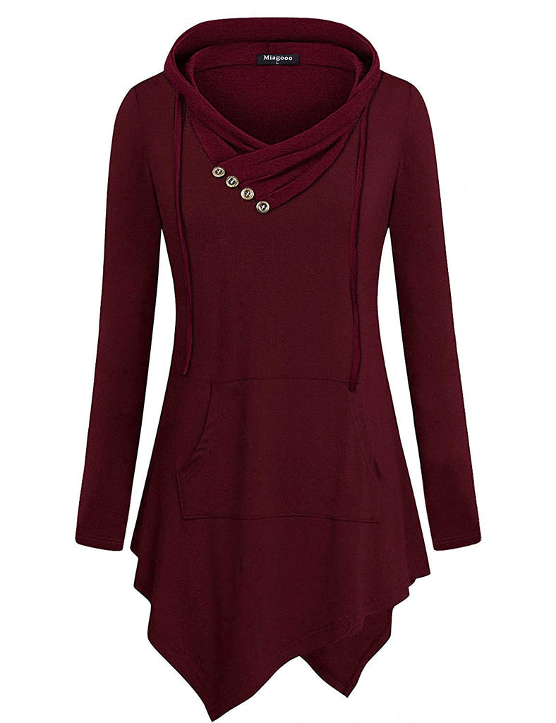 Uneven Hemline Hoody Shirt Pocket Tunic Long Sleeve Casual Tops