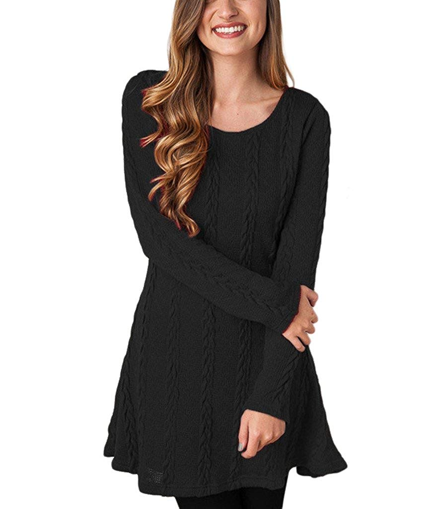 Womens Knitted Crewneck Sweater Dress