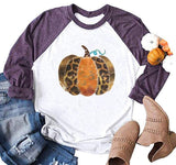 Fall Pumpkin Graphic 3/4 Raglan Sleeve Thanksgiving Casual T-Shirt for Women