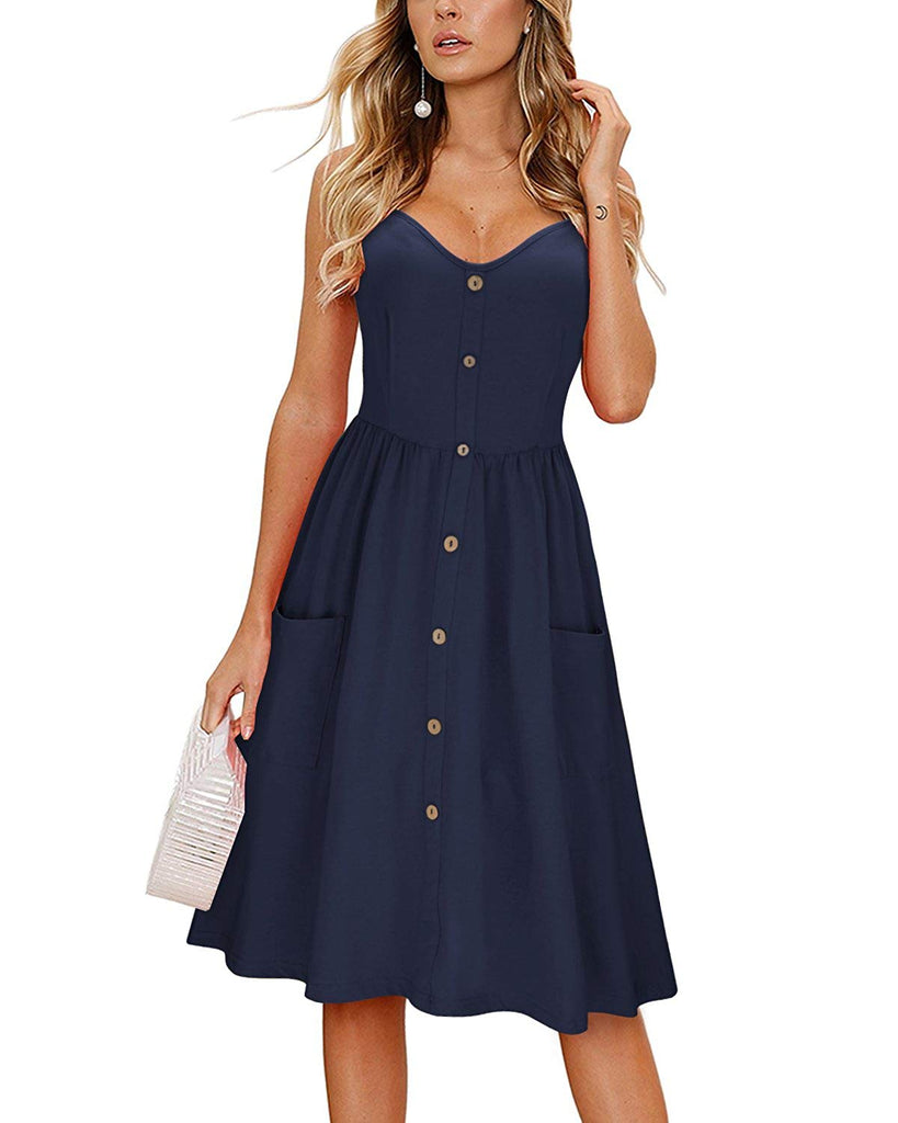 Women's Long Sleeve Dress Spaghetti Strap Button Down Dress with Pockets