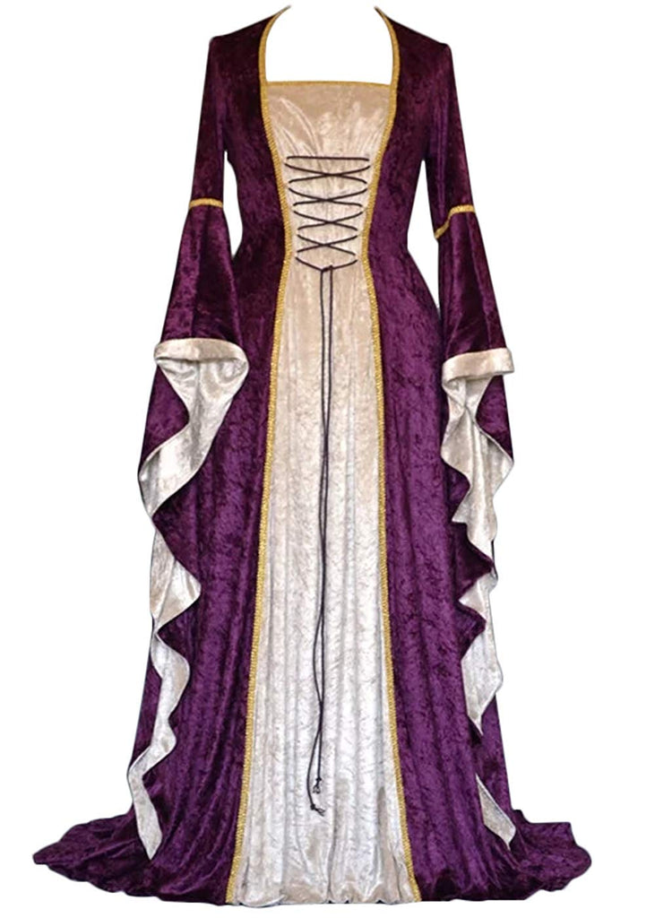 Womens Renaissance Medieval Costume Dress Lace up Irish Over Long Dresses Retro Gown