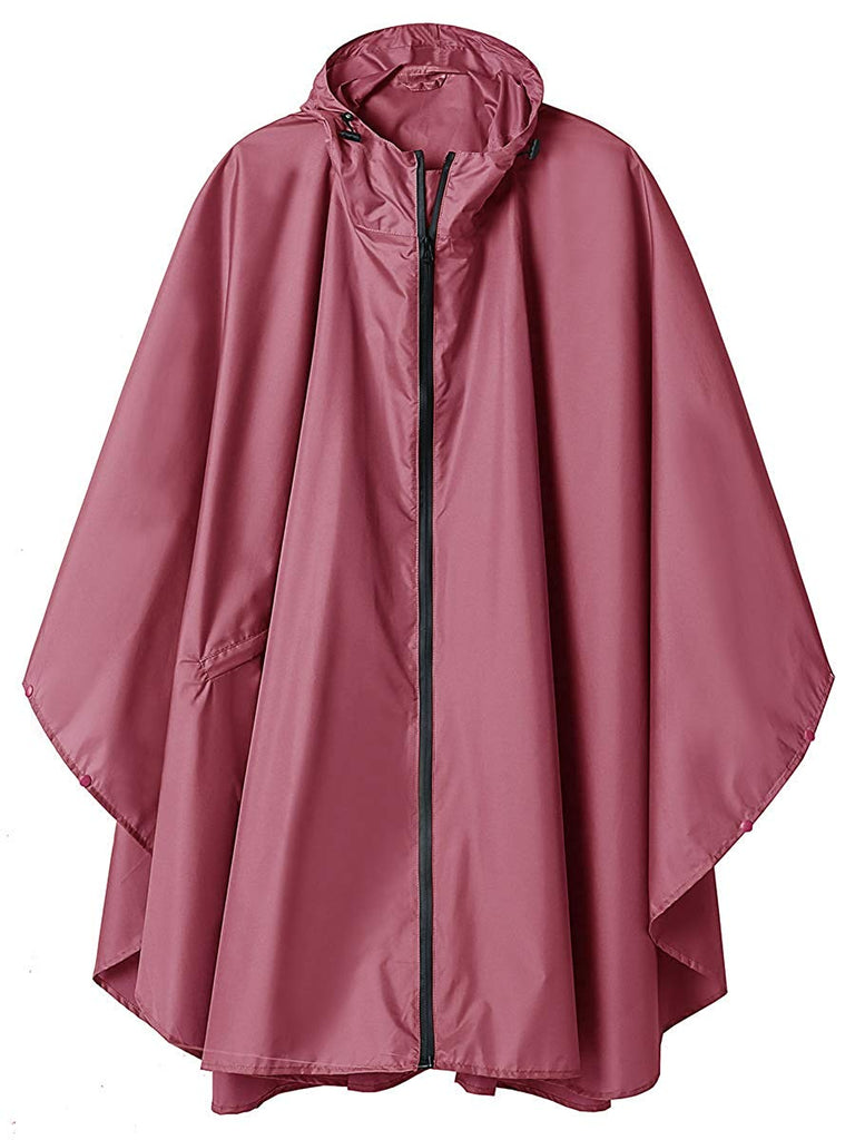 Women Rain Jacket Hooded Coat with Pockets Outdoors
